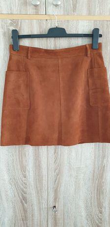 H&M 42 spódnica skóra zamsz boho camel od zaraz