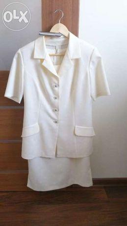 żakiet + sukienka kremowa wzór 42