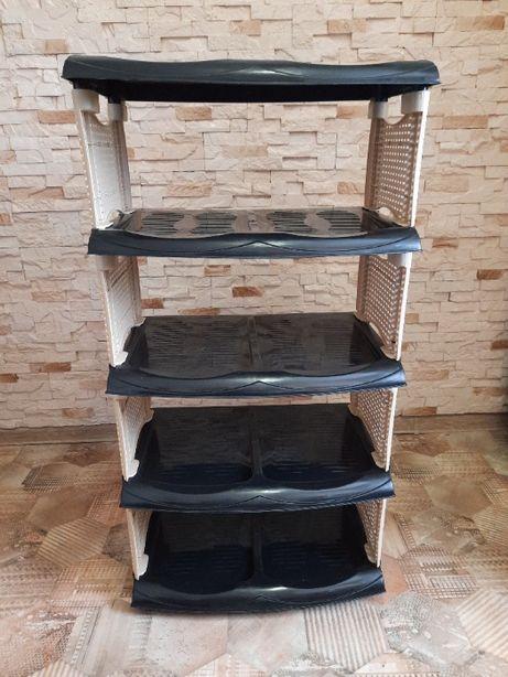 Обувная полка, Ротанг на 5 полочек, черная R plastic, для обуви,