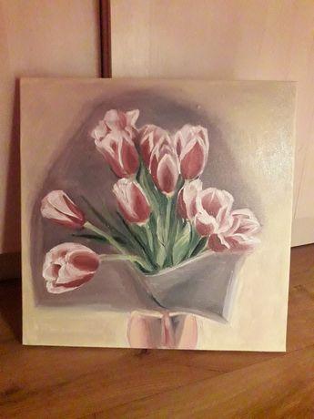 Картина маслом. Тюльпаны 40×40 Холст с подрамником