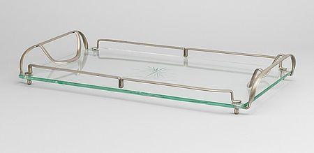 Taca w stylu glamour ze szkła szlifowanego i metalu