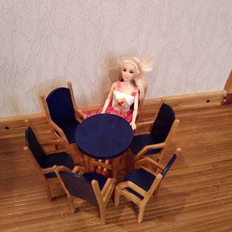Мебель для барби. Стол и стулья для кукол Барби. Для кукольного домика