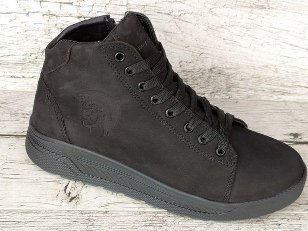Зимние ботинки нубук 38р.- 24,5 см