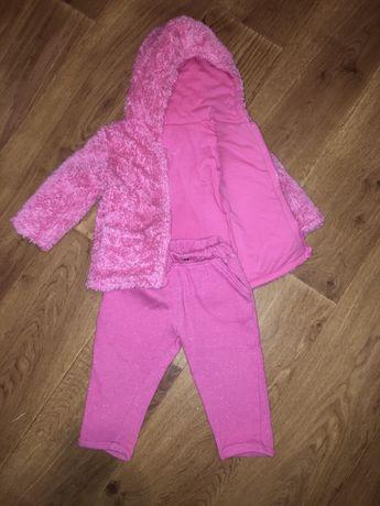 Теплый костюм на осень меховушка на малышку 3-9 м