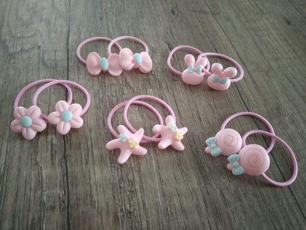 16 sztuk nowe gumki pudrowy róż ozdoby do włosów