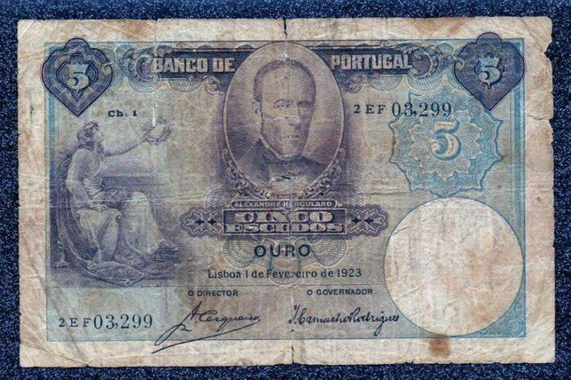 Nota 5 Escudos 1923 Portugal