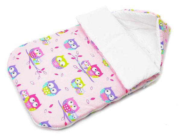 Śpiworek do wózka/gondoli bawełniany 105CM:sowy różowe/biały