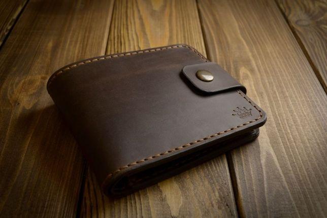 Кожаное мужское портмоне, кошелек из натуральной кожи ручной работы