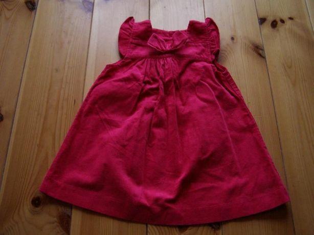 Sukienka sztruksowa ciemny róż, r. 80-86