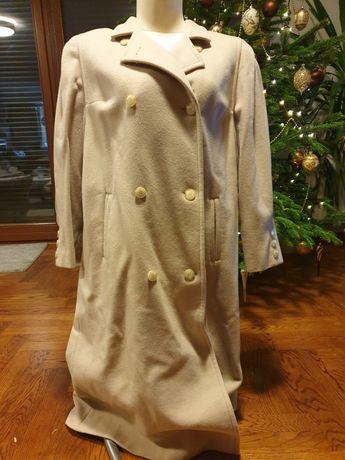 Beżowy jasny, długi płaszcz z kaszmiru i wełny
