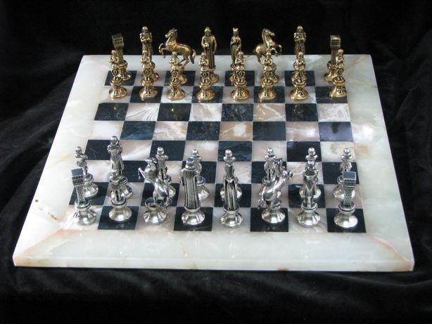Onyks -Stylowe szachy srebrzone-wyjątkowy prezent