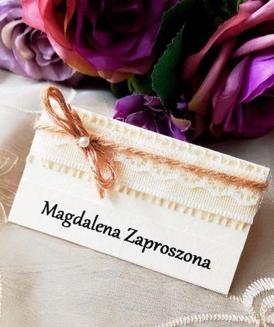 Winietki, juta, ślub, ręcznie wykonane