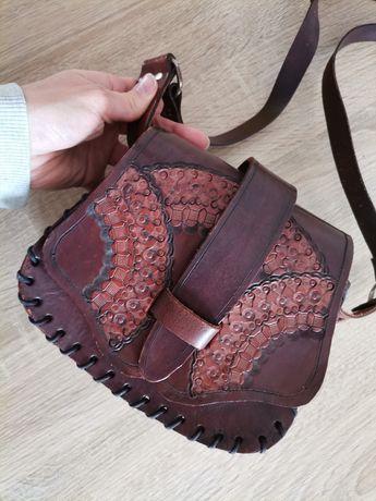 Skórzana torebka vintage retro boho góralska tłoczona rękodzieło