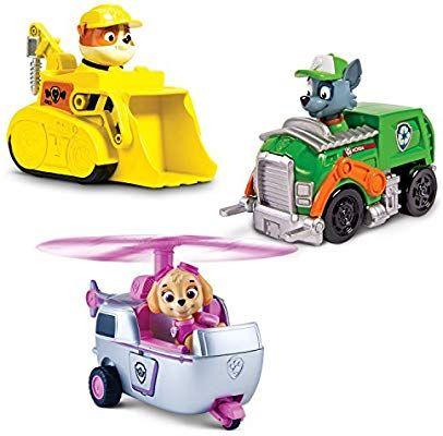Щенячий патруль Скай, Рокки, Крепыш, набор фигурок на машинах,оригинал