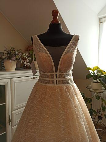Suknia ślubna ADALINE model Victoria rozmiar 40 kolor beż