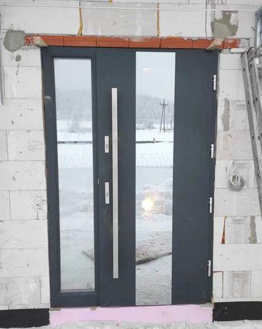 Drzwi zewnętrzne wejściowe drewniane dębowe dostawa gratis