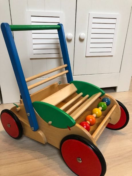 BAJO Drewniany chodzik, pchacz, jeździk dla dziecka -maluszka