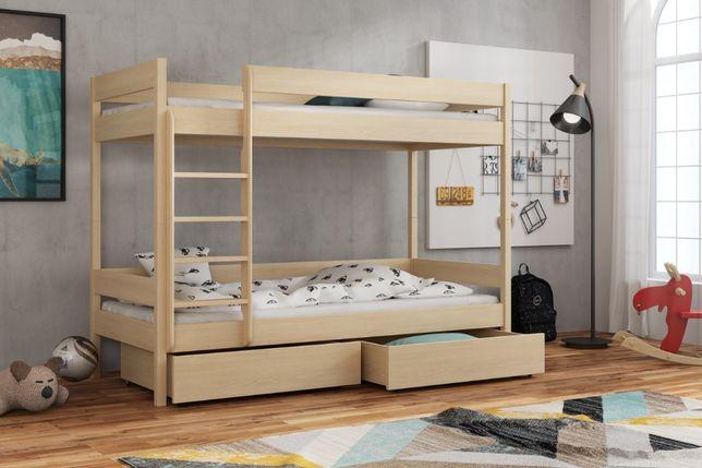 Dwuosobowe drewniane łóżko Zosia, materace gratis rozmiar 180x80cm