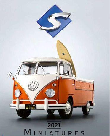 Miniatura - Volkswagen VW T1 Pick-Up 1950 orange / white 1:18