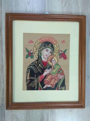 Matka Boska - haft krzyżykowy