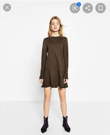 Zara sukienka dresowa khaki 36 S