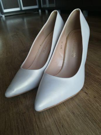 Piękne buty ślubne na szpilce, perłowe, rozmiar 38 stan idealny