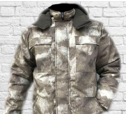 Зимняя куртка Бушлат на флисе для охоты и рыбалки, туризма RIP-STOP
