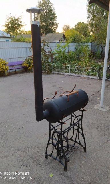 Мангал з газового балона і швейного столика