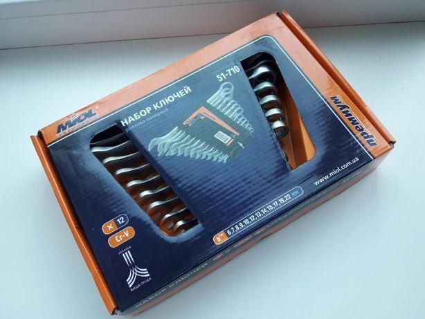 Набор комбинированных ключей 6-22мм MIOL фирменный усиленный 12 ед.