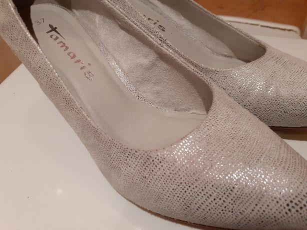 TAMARIS buty czułenka r.37 srebrne stan bdb piękne