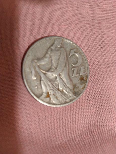 Moneta 5 złotych. Rybak 1958 r.