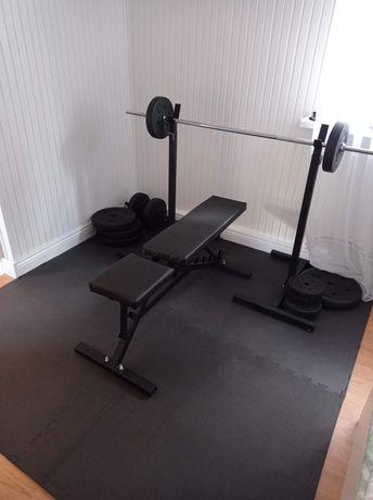 Siłownia ławeczka stojaki sztanga wyciąg maty 110kg