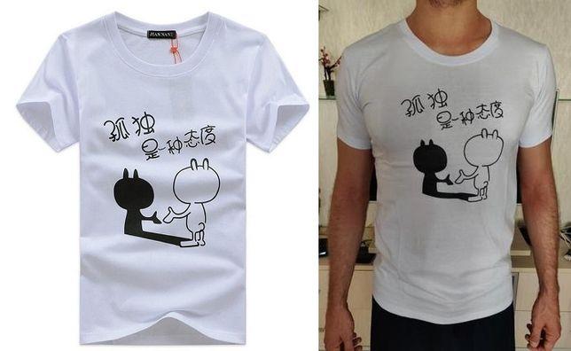Белая мужская футболка с прикoльным принтом, T-Shirt с рукавом, хлопок
