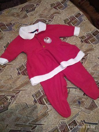 Новогодний костюм Санты для девочки до 6 месяцев