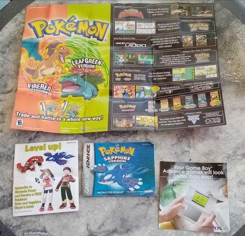 Pokémon Sapphire manual e inserções