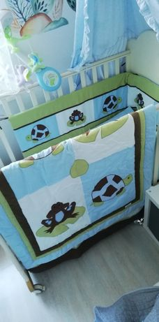 Nowy piękny komplet do łóżeczka kołderka, ochraniacz, dodatki.