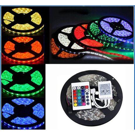 Светодиодная лента RGB 5 м, блок питания, пульт. RGB 5050.