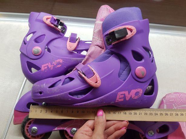 Роликовые коньки 4 колеса до 37 р 23,5 см фиолетовые фирменные Evo
