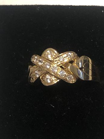 Pierścionek Złoty zaręczynowy Libanka; Golanka 4 części rozmiar 15