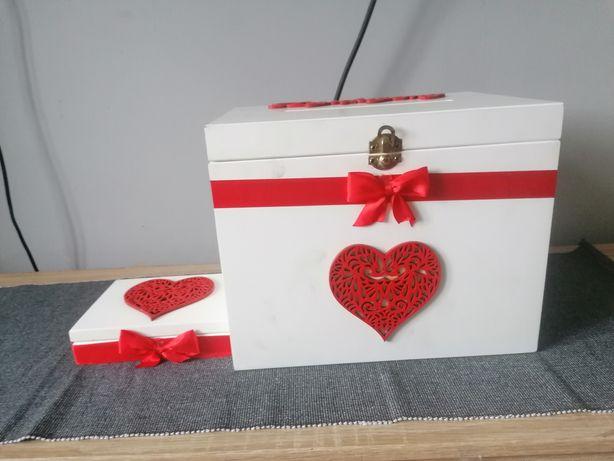 Skrzynka na koperty i pudełko na obrączki czerwień