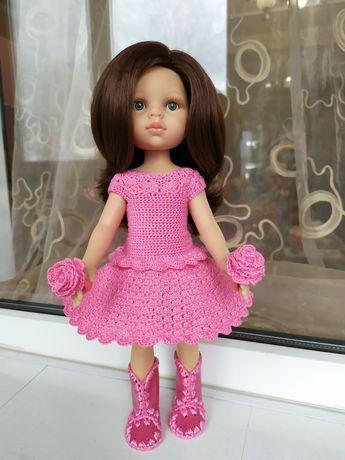 Красивое розовое платье с резиночками для куклы Паола Рейна 32-34 см