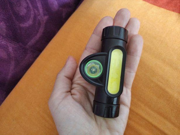 Вело фонарик 2 в 1 налобний/ ліхтарик з магнітом/ вело фонарь налобный