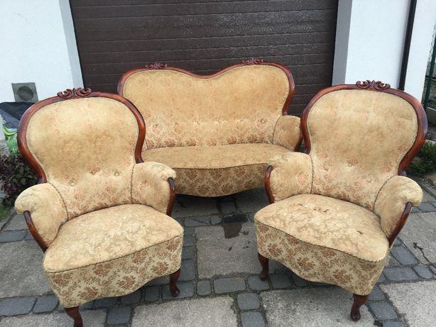 sofa plus dwa fotele Ludwik do renowacji