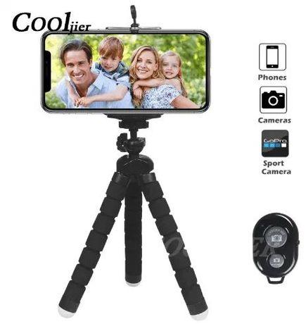 Mini Tripé Flexível c/ Obturador Camera Remoto Bluetooth