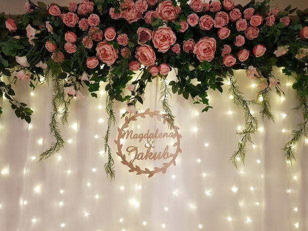 Ścianka kwiatowa Glamour Styl Dekoracja Ślubna Tło za Para Młoda
