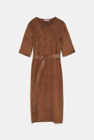 Nowa sukienka Zara ze sztucznego zamszu, r. M