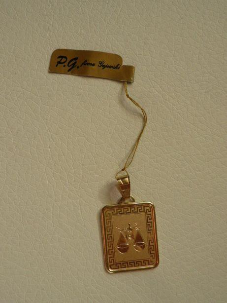Złota zawieszka przywieszka znak zodiaku Waga Nowa!