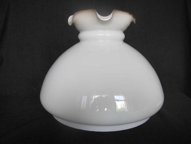 Duży szklany klosz z falbanką do lampy naftowej_otwór montażowy 284 mm