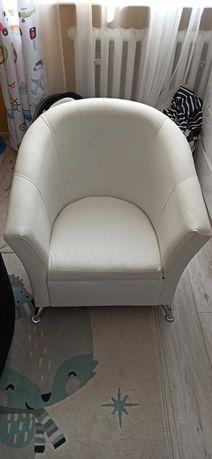 Fotel - ekoskora - biały