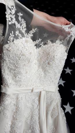 Весільне плаття/рибка/колір айворі/шлейф s